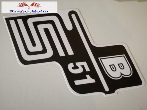 Simson S51B oldaldekni matrica párban (fehér)