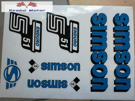 Simson komplett matrica szett S51 Enduro kék