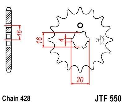 Első lánckerék JTF 550-es 14 fogas