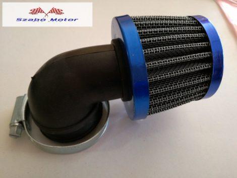 Levegőszűrő sport kék csatlakozóméret 35 mm 90 fokos könyökkel (RV-21)